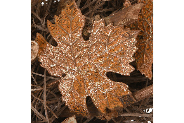 """18"""" Harvest Brown Maple Leaves Wreath on Branch Base, , large"""