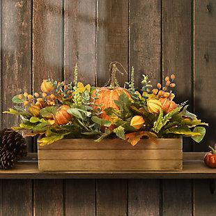 """22"""" Harvest Pumpkin Centerpiece in Wood Box, , rollover"""