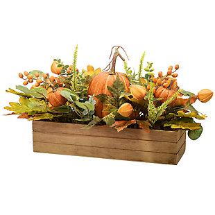 "22"" Harvest Pumpkin Centerpiece in Wood Box, , large"