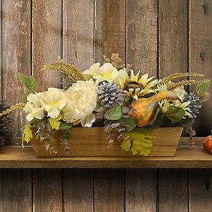 "18"" Harvest Pumpkin and Sunflower Centerpiece in Wood Box, , rollover"