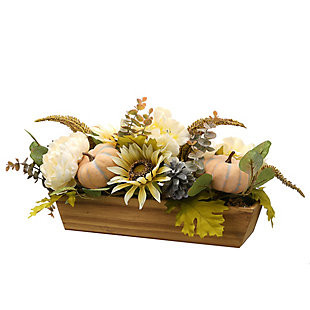 """18"""" Harvest Pumpkin and Sunflower Centerpiece in Wood Box, , large"""