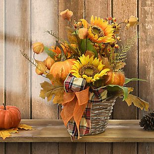 """16"""" Harvest Pumpkin and Sunflower Basket with Ribbon, , rollover"""