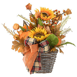 """16"""" Harvest Pumpkin and Sunflower Basket with Ribbon, , large"""