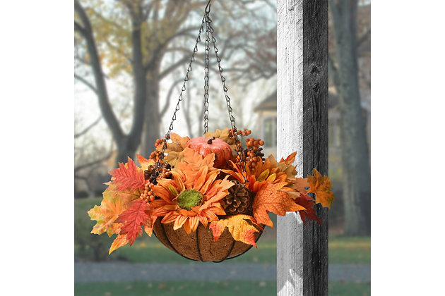 18'' Harvest Sunflower Hanging Basket, , large