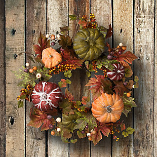 "22"" Harvest Maple and Pumpkin Wreath, , rollover"