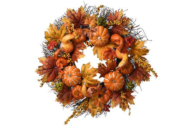 "22"" Harvest Maple and Pumpkin Wreath, , large"