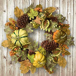 "22"" Harvest Pumpkins and Pine Cones Wreath, , rollover"