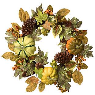 "22"" Harvest Pumpkins and Pine Cones Wreath, , large"
