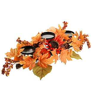 """24"""" Harvest Candle Holder with Sunflowers, Maple Leaves, , rollover"""