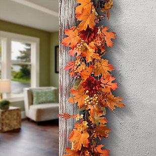 """60"""" Harvest Maple Leaf Garland with Berries, , rollover"""