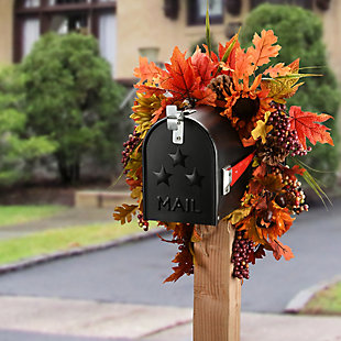 National Tree Company Harvest Mail Box Swag with Sunflowers and Maple Leaves, , rollover