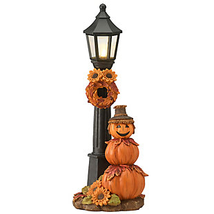 """14"""" Pumpkin Scarecrow and Lamppost with Battery Operated LED Lights, , large"""
