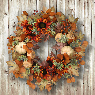 """24"""" Harvest Wreath with Sunflowers, Pumpkins, Berries and Leaves, , rollover"""