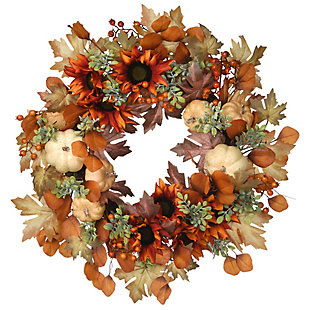 """24"""" Harvest Wreath with Sunflowers, Pumpkins, Berries and Leaves, , large"""