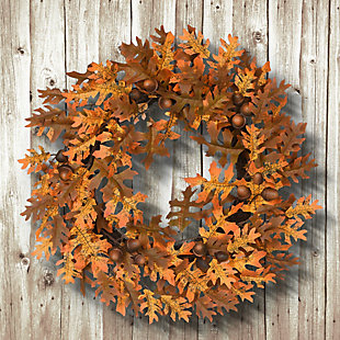 """24"""" Harvest Wreath with Oak Leaves and Acorns, , rollover"""