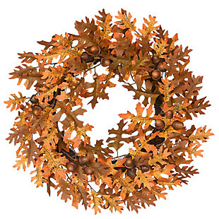 """24"""" Harvest Wreath with Oak Leaves and Acorns, , large"""