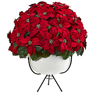 """33"""" Grand Poinsettia Artificial Arrangement in White Vase with Metal Stand, , rollover"""