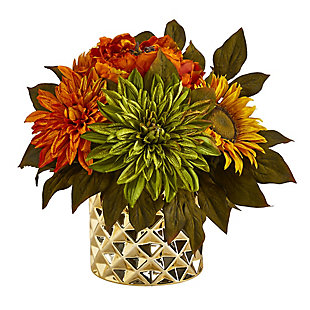 """11"""" Peony, Dahlia and Sunflower Artificial Arrangement in Gold Vase, , large"""