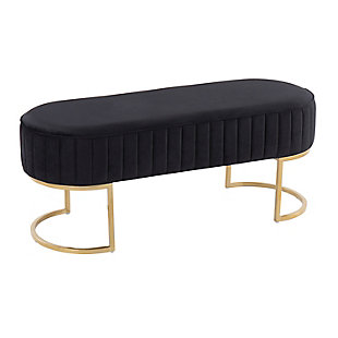 LumiSource Demi Pleated Bench, Black/Gold, large