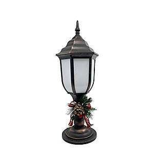 Christmas Bronze Finish Plastic Lantern With Fireglow Led, , rollover