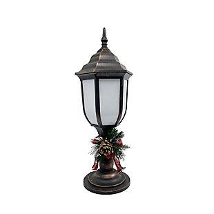 Christmas Bronze Finish Plastic Lantern With Fireglow Led, , large