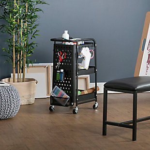 Studio Designs Streamline Mobile 3-Tier Metal Multiuse Organizer Cart, , rollover