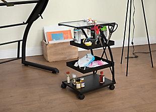 Studio Designs Triflex Mobile 4-Shelf Organizer Cart, Charcoal Black/Clear, rollover