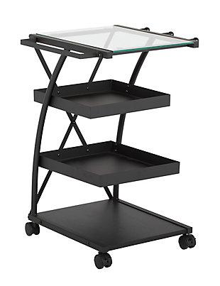 Studio Designs Triflex Mobile 4-Shelf Organizer Cart, Charcoal Black/Clear, large
