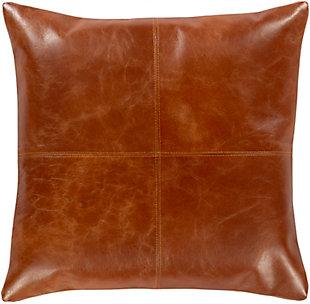 Surya Barrington Leather Throw Pillow, , rollover