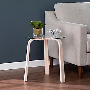 Southern Enterprises Anwick Round Glass-Top End Table, , rollover