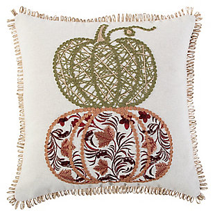 Rizzy Home  Double Patterned Pumpkin Fall Pillow, , large