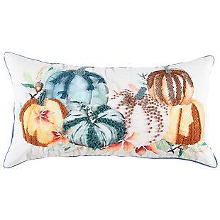 Rizzy Home  Fall Multi Colored Pumpkin Lumbar Pillow, , rollover