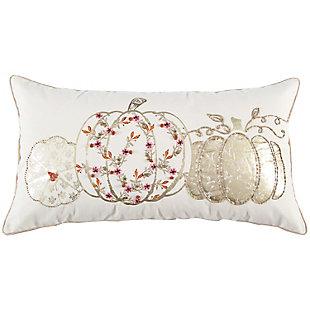 Rizzy Home  Fall Multi-Metallic Colored Pumpkin Lumbar Pillow, , rollover