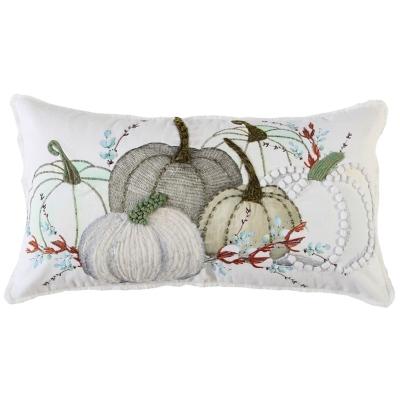 Rizzy Home  Fall Multi Colored Pumpkin Lumbar Pillow, , large