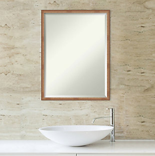Amanti Art Narrow Wood Framed Wall Mounted Mirror, Rose Gold, rollover