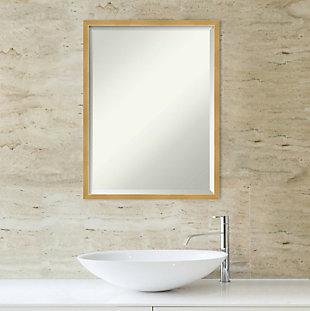 Amanti Art Wood Framed Wall Mounted Mirror, Brass Gold, rollover