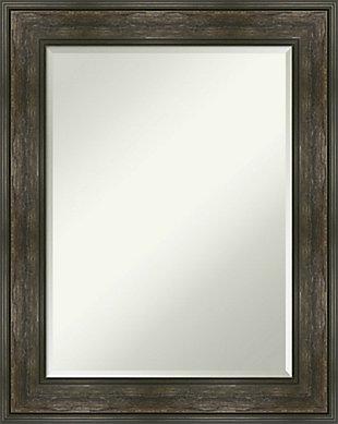 Amanti Art Framed Wall Mounted Mirror, Rail Rustic Char, large