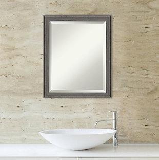 Amanti Art Narrow Wood Framed Wall Mounted Mirror, Barnwood Gray, rollover