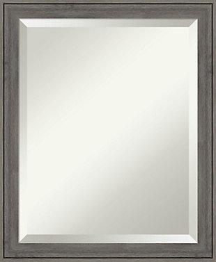 Amanti Art Narrow Wood Framed Wall Mounted Mirror, Barnwood Gray, large