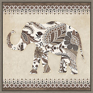 Amanti Art Boho Elephant II Neutral Framed Canvas Art, , large