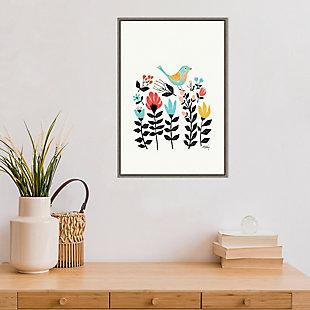 Amanti Art Folk Art Garden (Bird) Framed Canvas Art, , rollover
