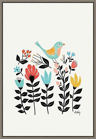 Amanti Art Folk Art Garden (Bird) Framed Canvas Art, , large