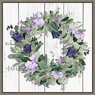 Amanti Art Purple Tulip Wreath II Framed Canvas Art, , large