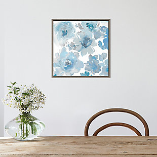 Amanti Art Springtime Blue and Silver Flowers Framed Canvas Art, , rollover