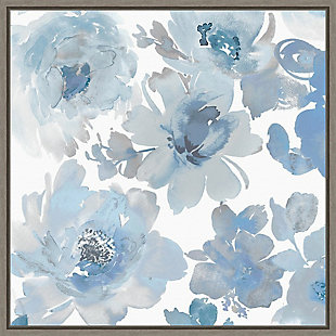 Amanti Art Springtime Blue and Silver Flowers Framed Canvas Art, , large