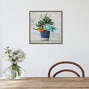 Amanti Art Succulent Still Life I Navy Framed Canvas Art, , rollover