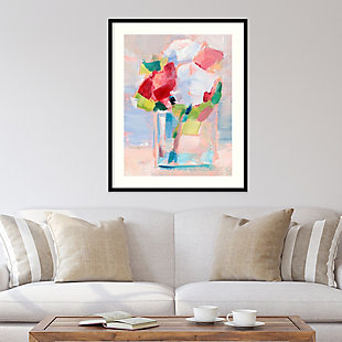 Amanti Art Abstract Flowers in Vase II  Framed Wall Art Print, Black, rollover