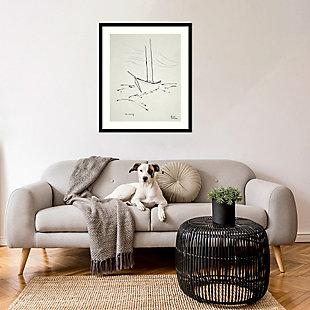 Amanti Art Crossing the Gulf (Boat)  Framed Wall Art Print, Black, rollover