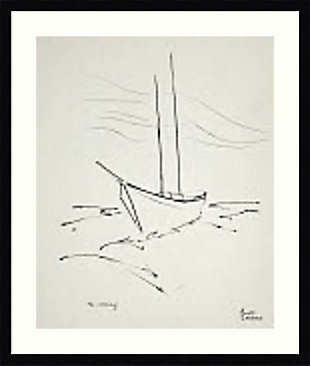 Amanti Art Crossing the Gulf (Boat)  Framed Wall Art Print, Black, large