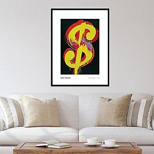 Amanti Art Dollar Sign 1981 by Andy Warhol Framed Art Print, Black, rollover